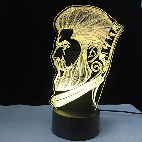 Salón de belleza peluquería letrero peluquería negocio 3D LED luz nocturna luz nocturna creativa ilusión lámpara de mesa regalos de Navidad