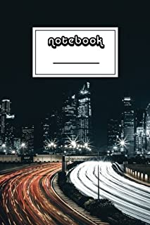 Notebook: City By Night Notebook   Beautiful 100-Page College-Ruled Work Book to Write in   Stylish 6 X 9 Lined Journal (C...