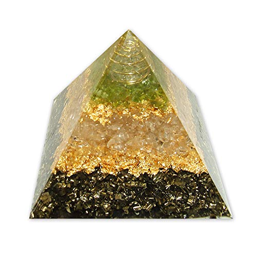 emotion & design Orgonit Pyramide - mit Bergkristall in Metallspirale, Kupferspirale und Messing