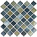 """SomerTile Hudson Tangier FKOLTR20 Tinge Porcelain Mosaic Floor and Wall Tile, 12.375"""" x 12.5"""", Atlantis, Green/Blue, 10 Sheets"""