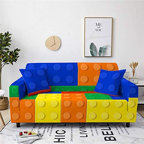 Funda de Sofá de Poliéster Spandex 3 Plazas 3D Bloque De Construcción Estampado Multicolor Fundas de Sofá Chaise Longue Elástica Antideslizante Protectoras para Sofá+1 Funda de Almohada