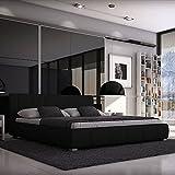 HUIJK Doppelbett 180x200 Designerbett Polsterbett Ehebett Bett Kunstleder schwarz
