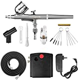 Master Airbrush Airbrushing System Kit with a G23 Multi-Purpose Gravity Feed Dual-Action Airbrush with 1/3oz. Cup and 0.3mm Tip, Mini Air Compressor, Hose, Storage Case, How-to-Airbrush Guide Booklet
