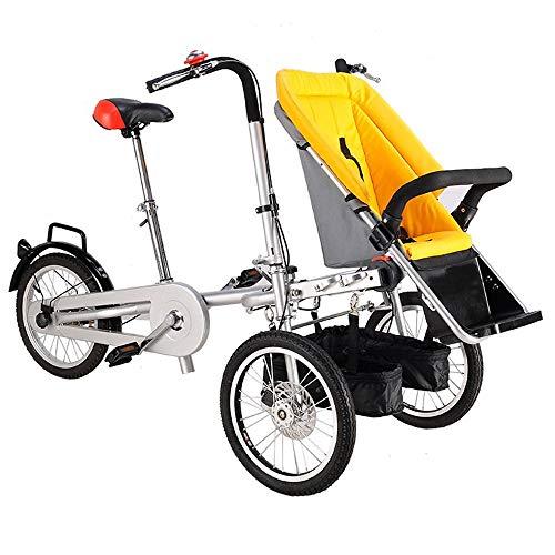 KY Kinderfahrrad Klappfahrrad mit 3 Rädern für 1 Erwachsenen- und Zwillingsbaby, Eltern-Kind-Fahrrad, 2-in-1-Kinderwagenfahrrad, 4 Modi, freies Cabrio