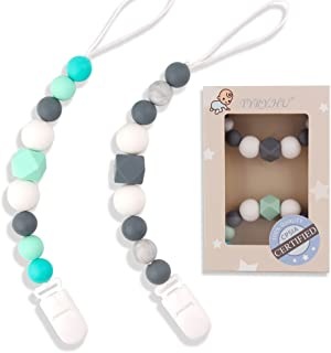 TYRY.HU Pacifier Clips Silicone Teething Beads BPA Free Binky Holder for Girls, Boys, Baby Shower Gift, Teether Toys, Soothie, Mam, Drool Bibs, Set of 2 (Green, Gray)