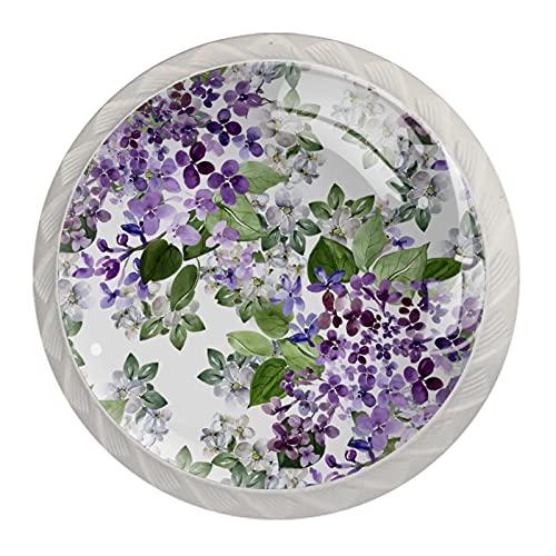 Hermosa lila, 4 piezas de pomos de gabinete de cocina ABS estilo Mord, asas redondas para cajones y cajones