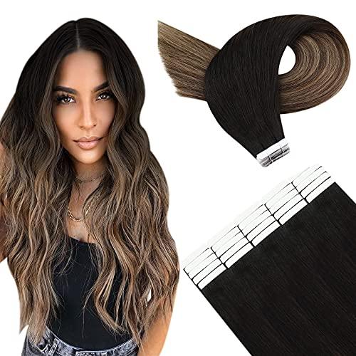 YoungSee Extension Adhesif Cheveux Naturel Balayage Noir Ombre Marron Foncé mixte Blond Caramel Extension Bandes Adhesives 16 Pouces 20pcs/50g