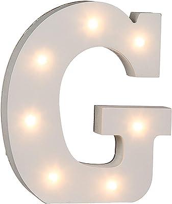 Out of the Blue, Lampada lettera G in legno, con 7 LED