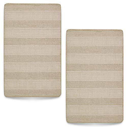 Ikea Klejs Lot de 2 tapis 50 x 80 cm Coton jute tissé à plat Beige Blanc naturel Tapis en coton Tapis en fibres naturelles de jute (lot de 2 – Beige/blanc naturel, 50 x 80 cm)