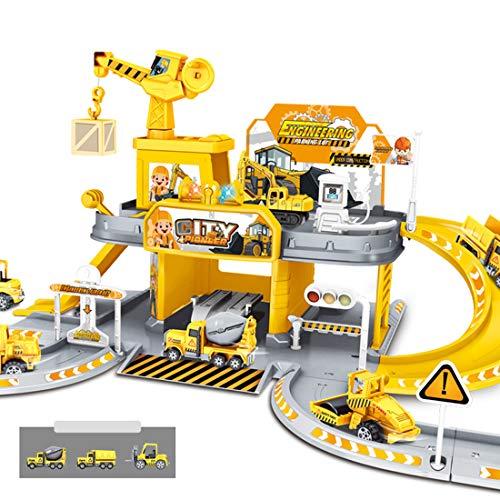 TONGJI Parkgarage für Kinder, Parkhaus Spielzeug, Groß Parkgarage Spielzeug mit 2 Ebenen und 3 Fahrzeugen, Autogarage Spielzeug für ab 3 Jahren - 51 x 38 x 27cm