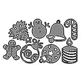 P12cheng Fustelle Metallo Stenci,Palla di Natale Bell Tree Die Cuts Stencil per DIY Scrapbooking Carte di Carta Craft Emboss Xmas Card Artigianato Decor Silver