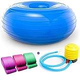 ACENDRATTI 3 Bandas Elasticas Gluteos + Pelota de Ejercicios, Pilates, Yoga, (50cm x 50cm x 28cm) Fitness, Crossfit, Ejercicios de Fuerza, Piernas, Brazos, Rehabititación, para el Embarazo