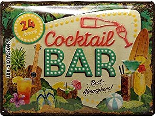 Nostalgic-Art Targa Vintage Cocktail Bar – Idea regalo per amanti dei cocktail, in metallo, Design retro per decorazione, 30 x 40 cm