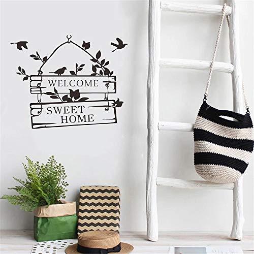 Bienvenido linda pared pájaro flor ratán sala de estar pegatinas de puerta aula dormitorio gimnasio decoración