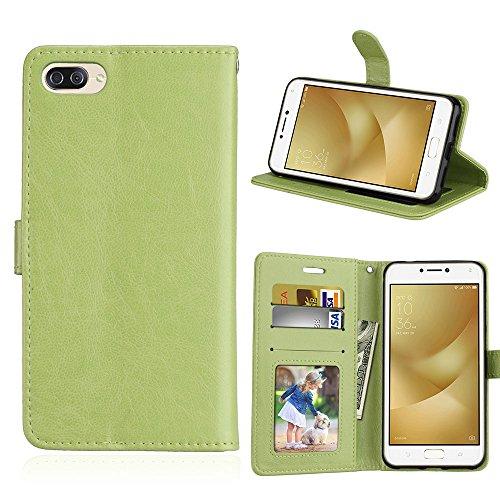 Funda Asus Zenfone 4 Max ZC520KL Case,Bookstyle 3 Card Slot PU Cuero cartera para TPU Silicone Case Cover-Verde