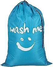 Sentovac Fold-able Durable Laundry Bag Cartoon Smiling Face Large Drawstring Moisture-Proof Mildew-Proof Laundry Basket Drawstring Cord Lock Closure (Blue)