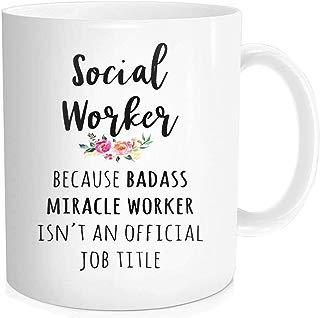 Waldeal 1 Piece, Social Worker Gift Cup, Funny Coffee Mug, Birthday Halloween Christmas Gift, 11 oz Fine Bone Ceramic White