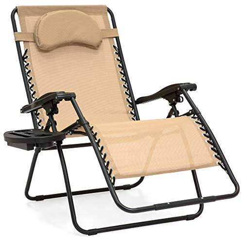 Best Choice Products Oversized Zero Gravity Chair, Folding Outdoor Patio Lounge Recliner w/Cup Holder Accessory Tray and Removable Pillow - Tan