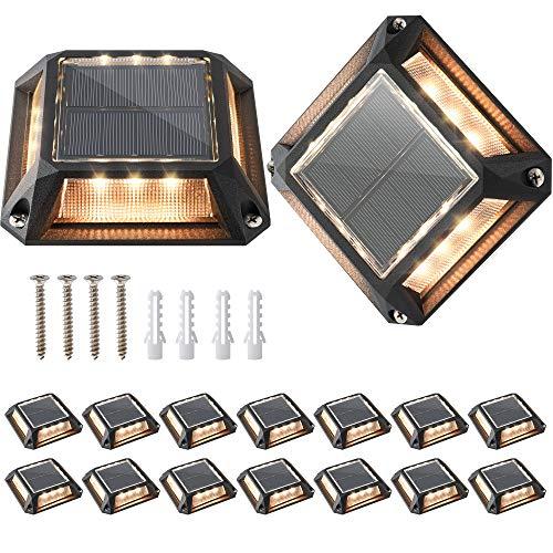 JACKYLED Solar Marker Lights 16-Pack Solar Deck Lights Outdoor Waterproof LED Driveway Dock Lighting Solar Powered Road Markers for Step Sidewalk Stair Garden Ground Pathway Yard (Warm White)