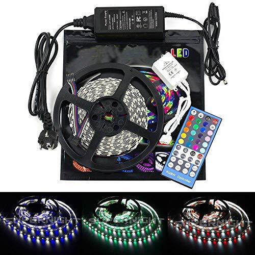 SUPERNIGHT RGBW LED Streifen 12V Flexible LED Lichtband 5M/16.4ft 300LEDs 5050 SMD LED Kit Lichtleiste, 44 Tasten IR Fernbedienung + Netzteil(RGB+Kaltweiß)