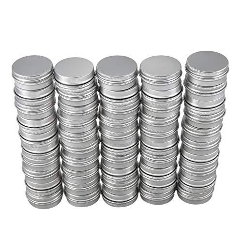Haudang 50 conteneurs cosmetiques vides couvercle vis du recipient jar levre pot de baume en luminium 15ml
