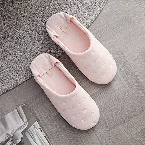 ZYYCAOMFF Inicio Interior Cálido Zapatillas De Mujer Calor Hogar Toboganes De Algodón Pisos Señoras Piso Interior Calcetines Zapatos Zapatos De Fondo Suave -Pink_6.5