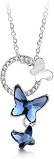 T400 Blue Purple Pink Butterfly Swarovski Crystal Pendant Necklace Birthday Gift for Women Girls