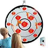 """Axe Throwing Game 28"""" Dart Board for Kids Target Shooting Game with 1 Safe Dartboard 4 Foam Axes 1 Score Sheet for Teens Indoor Outdoor Play"""