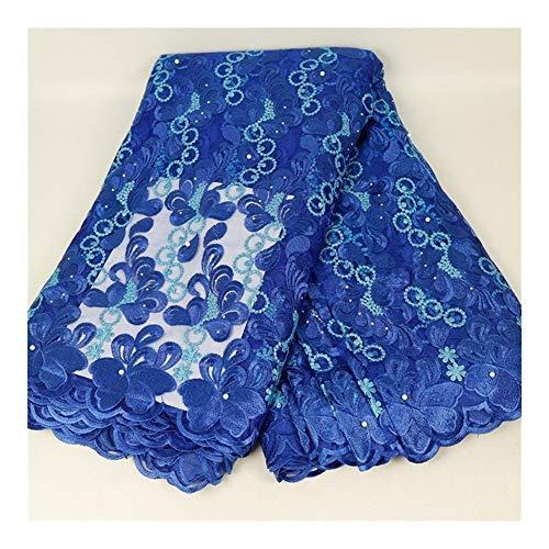 Cjcaijun Bordado accesorios bordados de encajes de tejido de malla de impresión de tela de encaje bordado de tela africana tela del cordón 5yards (Color : 3)