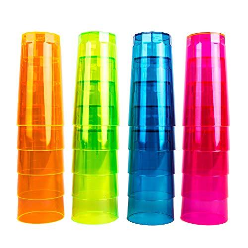 NEON STYLES – Longdrink Becher, 250 ml, 20 Stück in einem Set, in vier bunten Neonfarben-Mix - pink, grün, orange und blau - brillant im Tageslicht - leuchten unter Schwarzlicht noch intensiver