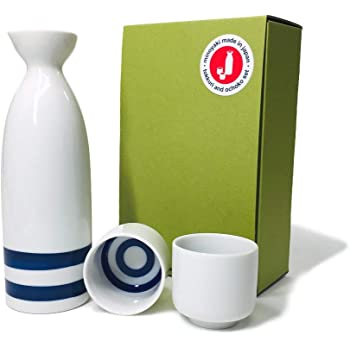 Japanese Minoyaki Janome Sake set, 8 oz sake bottle and 2 sake cup, Sake Tokkuri with Ochoko, for Kiki‐zake Traditional Mino-Yaki ware