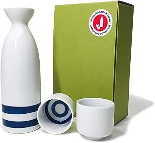 """Japanese Minoyaki Janome Sake set, 8 oz sake bottle and 2 sake cup   Sake Tokkuri with Ochoko, for""""Kiki‐zake"""" Traditional Mino-Yaki ware"""