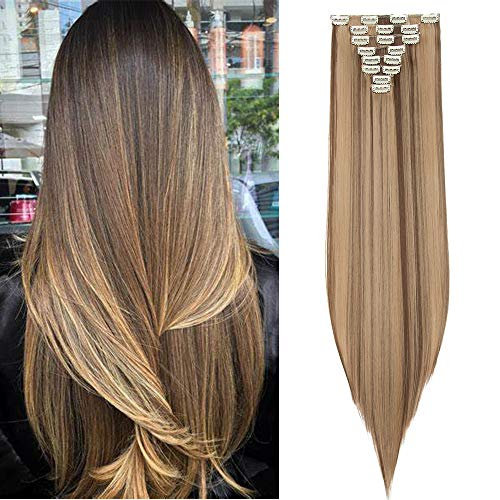 Silk-co 8 Bandes Extension A Clip Cheveux Synthétique Full Head Clip In Hair Extension Faux Cheveux Raide, 26\