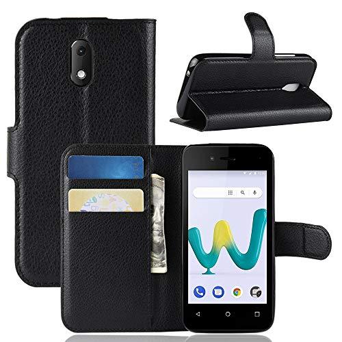 LAGUI Hülle Geeignet für Wiko Sunny 3 Mini, Schlichtes Aber Edles Brieftasche Lederhülle Mit Kartenfächern Fach & Magnetische Verschluss, Anti-Scratch, stoßfeste Handyhülle. schwarz