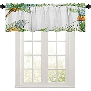 Print Farmhouse Valance, Watercolor Tropical Island Style Border Print Exotic Fruit Palm Trees and Leaves, Window Curtains for Kitchen and Bathroom, Multicolor