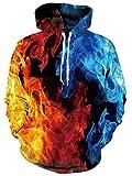 Rave on Friday 3D Felpa con Cappuccio Unisex Fuoco Stampa Hoodie Girocollo Pullover da Uomo Cool Sweatshirt Manica Lunga Casual Tops L-XL