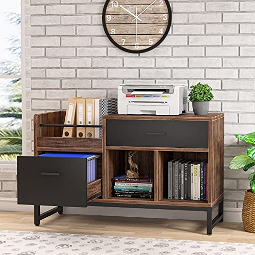 Tribesigns 2 Drawers Wood File Cabinet, Rustic Lateral Filing Cabinet, Printer Stand with Open Storage Shelves and Letter Size/A4 Size Drawer for Home Office, Black & Brown