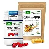 Paquete de productos MoriVeda   Cápsulas blandas de aceite de krill NKO y cápsulas de cúrcuma + pimienta   Paquete de nutrientes para cuerpo y mente   90 piezas cada uno