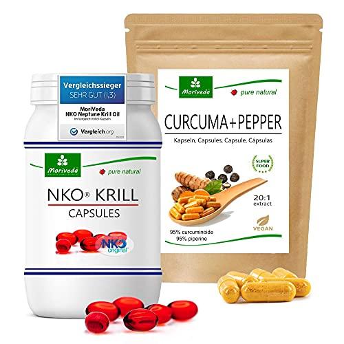 Paquete de productos MoriVeda | Cápsulas blandas de aceite de krill NKO y cápsulas de cúrcuma + pimienta | Paquete de nutrientes para cuerpo y mente | 90 piezas cada uno