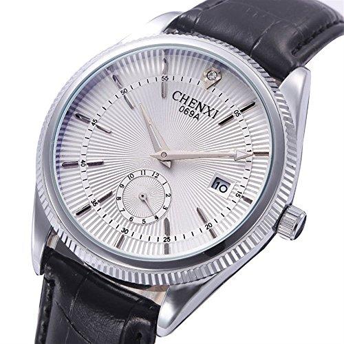 SJXIN schöne und stilvolle Uhr, Dawn Uhren Business-Gürtel Uhr wasserdicht Herrenuhr Kalender Nicht mechanische Quarzuhr heiß 069A Mode Uhren (Color : 3)