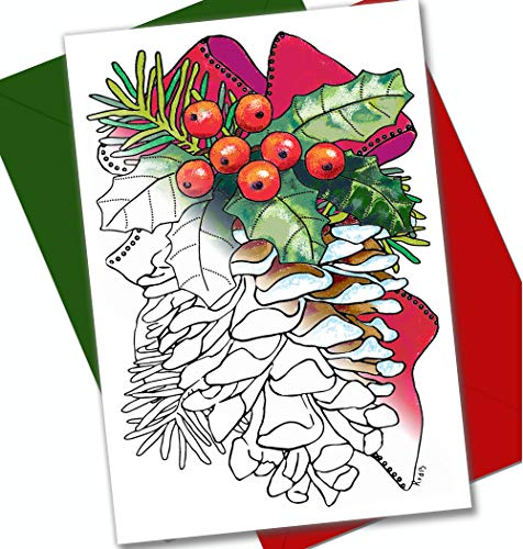 Art Eclect Christmas Coloring Cards for Adults, 12 Cards with 12 Unique Designs, 6 Red and 6 Green Envelopes Included (Christmas Set B1)