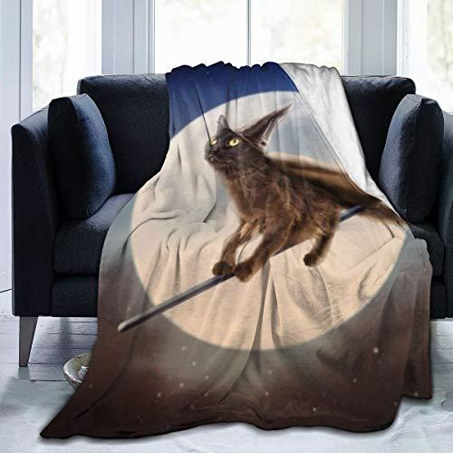 Generic Schwarze Katze auf Besen über Mond Ultraweiche Fleecedecke Superweicher, flockiger, Leichter hypoallergener Plüsch 50