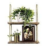 1 2 3 Nivel rústica de madera que cuelga de la cuerda Período de hecho a mano de madera sólida flotante estantes pared del hogar decorativo montado en rack (Color : 2 Tier)