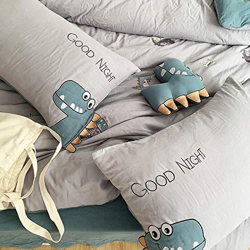 Cartoon-stijl katoenen borduurwerk vierdelig pak, katoenen dubbele gaas dekbedovertrek, naakt beddengoed voor kinderen-Zesdelige set_1,2 meter