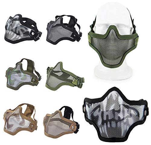 COOFIT Airsoft Maske Paintball Halbmaske Praktische Outdoor-Schutz Halbmaske Maske Spiel Halbmaske mit Sportbrille Armee Gesichtsfarbe
