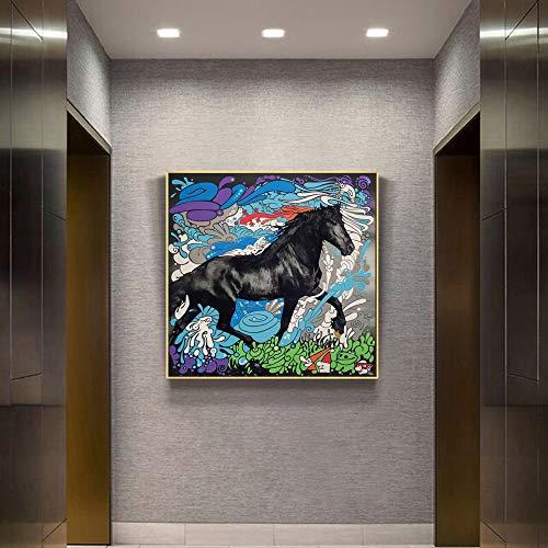 Puzzle 1000 piezas Surrealismo pintura caballo oscuro graffiti animal dibujos animados art deco imagen puzzle 1000 piezas animales Juego de habilidad para toda la familia, col50x75cm(20x30inch)