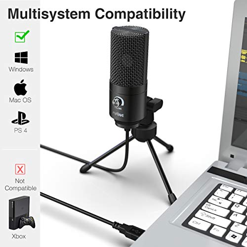 Fifine K669B Metal USB Microphone Condenser for Recording on Windows or Windows PC & Laptops, Cardioid Studio for Voice Recording, Input Volume Control Knob, Streaming and YouTube Videos