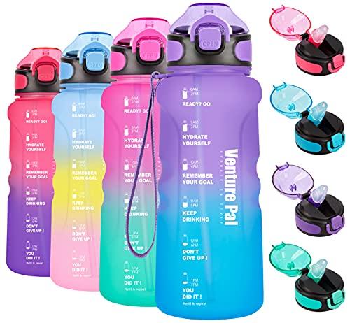 Venture Pal Botella de agua motivacional de 32 oz con marcador de tiempo y paja, jarra de agua sin BPA a prueba de fugas para garantizar que bebas suficiente agua durante todo el día para los entusiastas del aire libre-morado/azul degradado