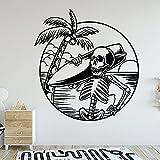 Surf Ola Calavera Esqueleto Fantasma Mar Playa Cocotero Deportes extremos Tabla de surf Vinilo Etiqueta de la pared Calcomanía para coche Niño Dormitorio Tienda Club Decoración para el hogar Mura