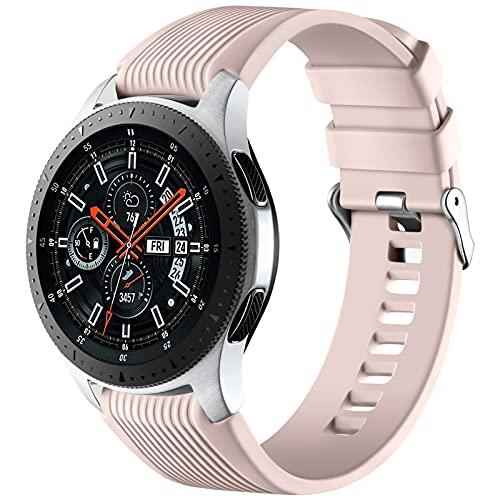 Mastten Correa de Silicona de 22mm Compatible con Samsung Galaxy Watch 3 45mm/Galaxy Watch 46mm/Gear S3 Frontier/Classic, Correas de Repuesto de Pulsera Deportiva de Silicona Suave, Rosa Arena